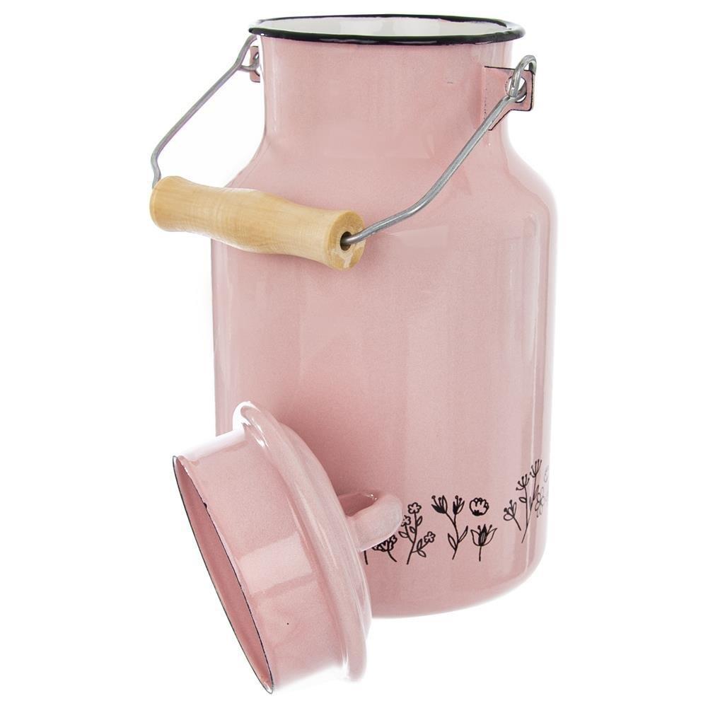 Kanka bańka namleko domleka emaliowana retro 2l różowa - Olaj Garden